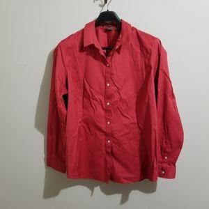 Eddie Bauer long sleeve button down red shirt